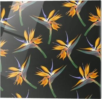 Cuadro en vidrio Flores de la jungla sin costura