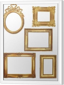 Cuadro Enmarcado 5 viejos marcos de madera sobre fondo blanco de oro