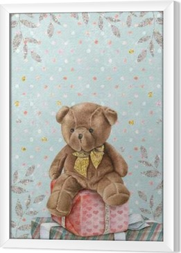 Cuadro Enmarcado Acuarela linda del oso de peluche con cajas de regalo