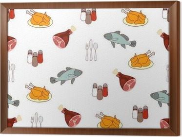 Vinilo Pixerstick Alimentación De Vectores De Fondo Carne Y Pescado