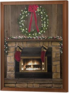 Cuadro Enmarcado Christmas hogar de la chimenea con la guirnalda y Medias