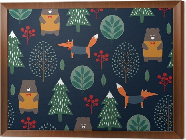 Cuadro Enmarcado Fox, oso, árboles y bayas sin patrón en el fondo ...