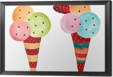 Cuadro Enmarcado Ice-cream. acuarelas sobre papel