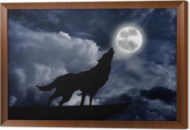 Cuadro Enmarcado Lobo aullando a la luna llena