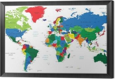 Cuadro Enmarcado Mapa del mundo-los países