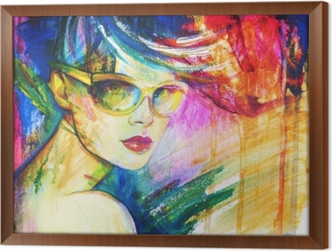 47a0906109 Cuadro en Lienzo Mujer con gafas de sol. Ilustración de moda. pintura de  acuarela • Pixers® - Vivimos para cambiar