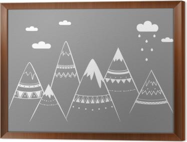 Cuadro Enmarcado Niños de montaña, Ilustración de vectores dibujados a mano