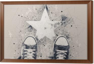 Cuadro Enmarcado Persona joven en el camino con forma de estrella.