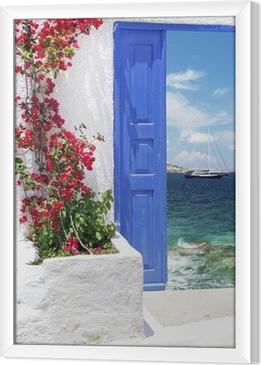 Cuadro Enmarcado Puerta griega tradicional en la isla de Mykonos, Grecia