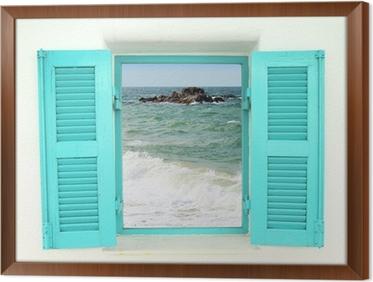Cuadro Enmarcado Ventana de estilo griego con vista al mar