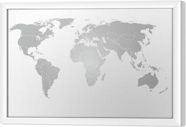 Cuadro Enmarcado World Map Vector gradiente gris