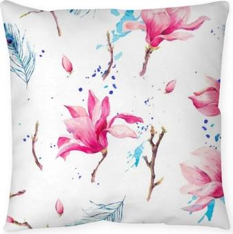 Cuscino decorativo Modello senza cuciture dell'acquerello con fiori magnolia