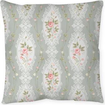 Cuscino decorativo Motivo floreale senza soluzione di continuità con pizzo e bordi rosa