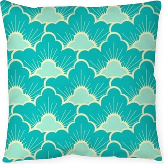 Cuscino decorativo Stilizzato pino foresta cielo blu senza soluzione di continuità in stile giapponese