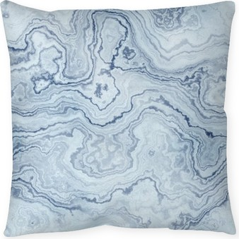 Cuscino decorativo Struttura senza giunte di marmo modello blu per sfondo / illustrazione