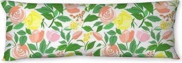 Cuscino oblungo Seamless con rose fiori delicati, piccoli fiori e foglie verdi.
