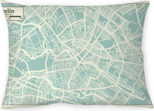 Decoratief sierkussen Berlijn Duitsland stadsplattegrond in retro stijl. overzichtskaart. - Reizen