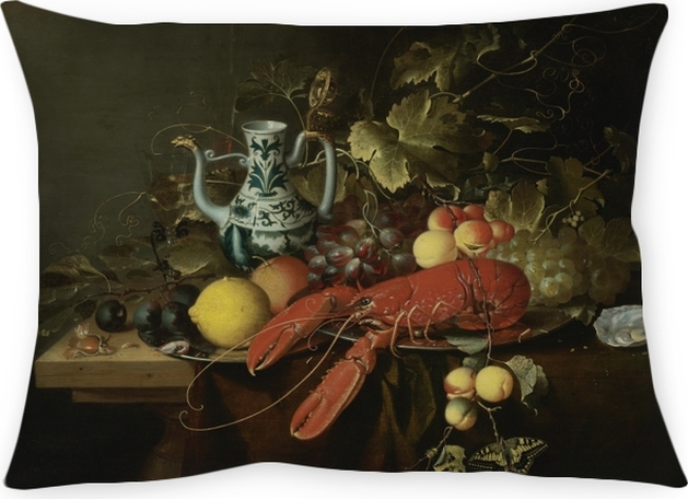 Decoratief sierkussen Laurens Craen - Still Life With A Lobster On A Pewter Plate, Lemons, Grapes, Apricots, Oysters - Reproducties