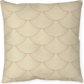 Decoratief sierkussen Lineaire schalen naadloze patroon