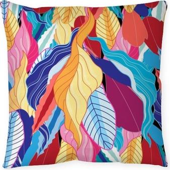 Decoratief sierkussen Naadloze patroon met bladeren.