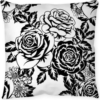 Decoratief sierkussen Naadloze zwart-wit patroon