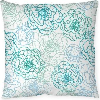 Decoratief sierkussen Vector blauwe lijn kunst bloemen elegante naadloze patroon achtergrond