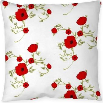 Decoratief sierkussen Zachte florale achtergrond met rode papavers. patronen voor textiel. naadloos