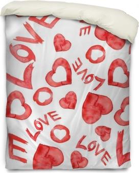 """Dekbedovertrek Aquarel naadloze patroon met een patroon van rood, wit hart. op witte geïsoleerde achtergrond. de inscriptie """"liefde"""". kunst illustratie voor uw ontwerp."""