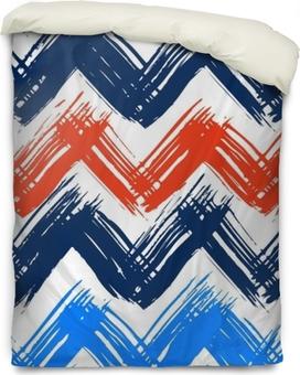 Dekbedovertrek Chevron patroon hand geschilderd met penseelstreken