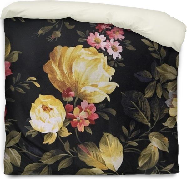 Dekbedovertrek Gele pioenroos en roze daisy ontwerp op zwarte stof - Grafische Bronnen