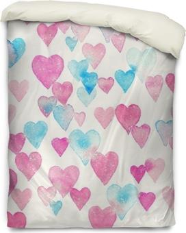 Dekbedovertrek Naadloze aquarel patroon met kleurrijke harten - roze, paars, blauw tinten.