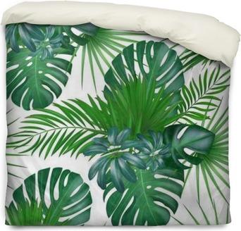 Dekbedovertrek Naadloze hand getekend realistische botanische exotische vector patroon met groene palmbladeren geïsoleerd op een witte achtergrond.