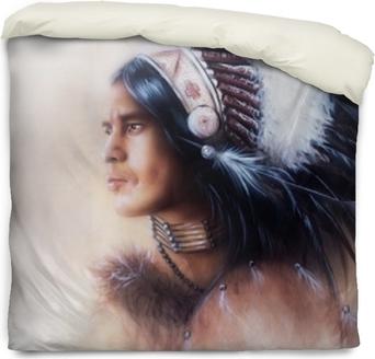 Dekbedovertrek Prachtige schilderij van een jonge Indiase krijger die een prachtig draagt