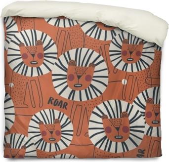 Dekbedovertrek Schattig naadloos patroon met gevaarlijke leeuw. perfect voor kinderen kleding, stof, textiel, kinderkamer decoratie, inpakpapier. trendy Scandinavisch vectorpatroon.