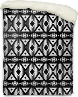 Dekbedovertrek Trendy naadloze zwart-wit patroon. Modern boho-stijl, etnisch, geometrische. Modieuze patroon voor kleding, het verpakken, achtergrond. Vector.