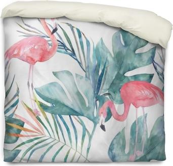 Dekbedovertrek Tropische naadloze patroon met flamingo en bladeren. aquarel zomer print. exotische hand getrokken illustratie