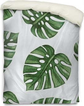 Dekbedovertrek Watercolor tropical palm leaves seamless pattern. Vector illustration.