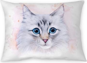 Dekokissen Aquarellillustration einer weißen Katze