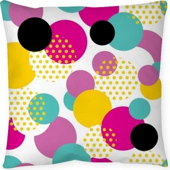 Dekokissen Nahtlose geometrisches Muster im Retro-Stil der 80er Jahre. Pop-Art-Kreis-Muster auf weißem Hintergrund.