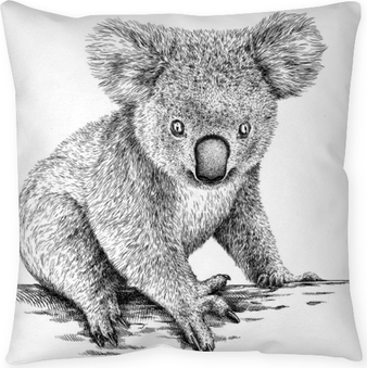 Dekokissen Schwarzweiss gravieren lokalisierte Koalaillustration