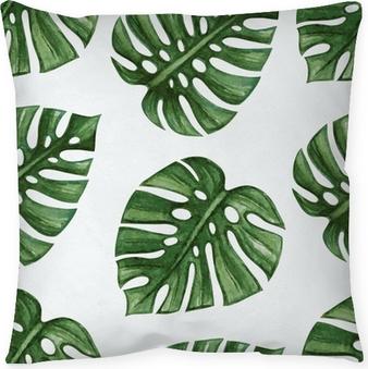 Dekokissen Watercolor tropical palm leaves seamless pattern. Vector illustration.