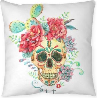 Dekorační polštář Akvarel s lebkou a růží