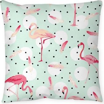 Dekorační polštář Flamingo Bird pozadí. Flamingo Peří na pozadí. Retro bezešvé vzor