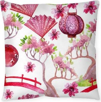 Dekorační polštář Japonský bezešvé vzor
