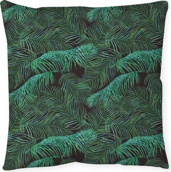 Dekorativ kudde Akvarell palmblad saemless mönster på mörk bakgrund.