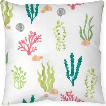 Dekorativ kudde Akvarell sömlösa mönster med koraller, tång, skal och stenar. undervattensalger. vektor akvarell marin bakgrund.
