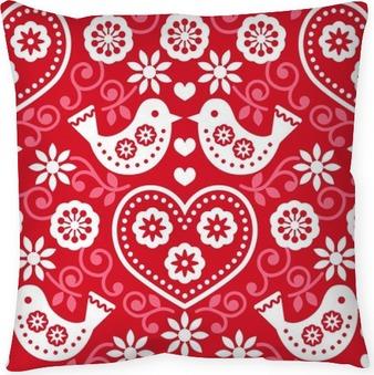 Dekorativ kudde Allmoge röd seamless mönster med blommor och fåglar