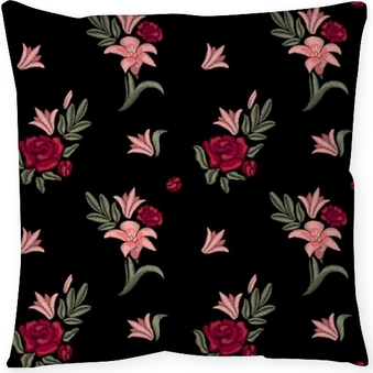Dekorativ kudde Broderade blommor. liljor och rosor. sömlöst mönster. vektor blommigtryck.
