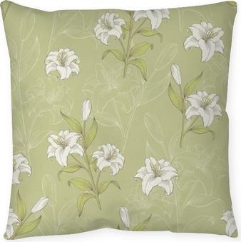 Dekorativ kudde Lilja blomma grafisk färg sömlös mönster skiss illustration vektor