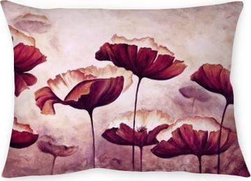 Dekorativ kudde Målning vallmor kanvas
